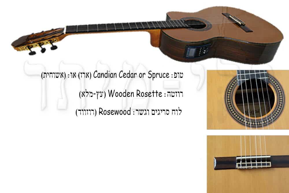 גיטרה קלאסית מוגברת - Rozanez - לוח סריגים וגשר