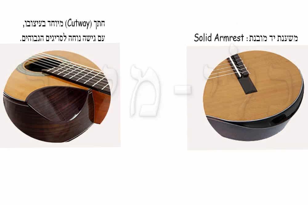 גיטרה קלאסית מוגברת Rozanez ELPE02-AC - משענת יד מובנת