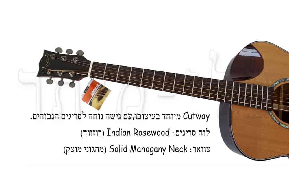 גיטרה אקוסטית מוגברת Virginia - לוח סריגים