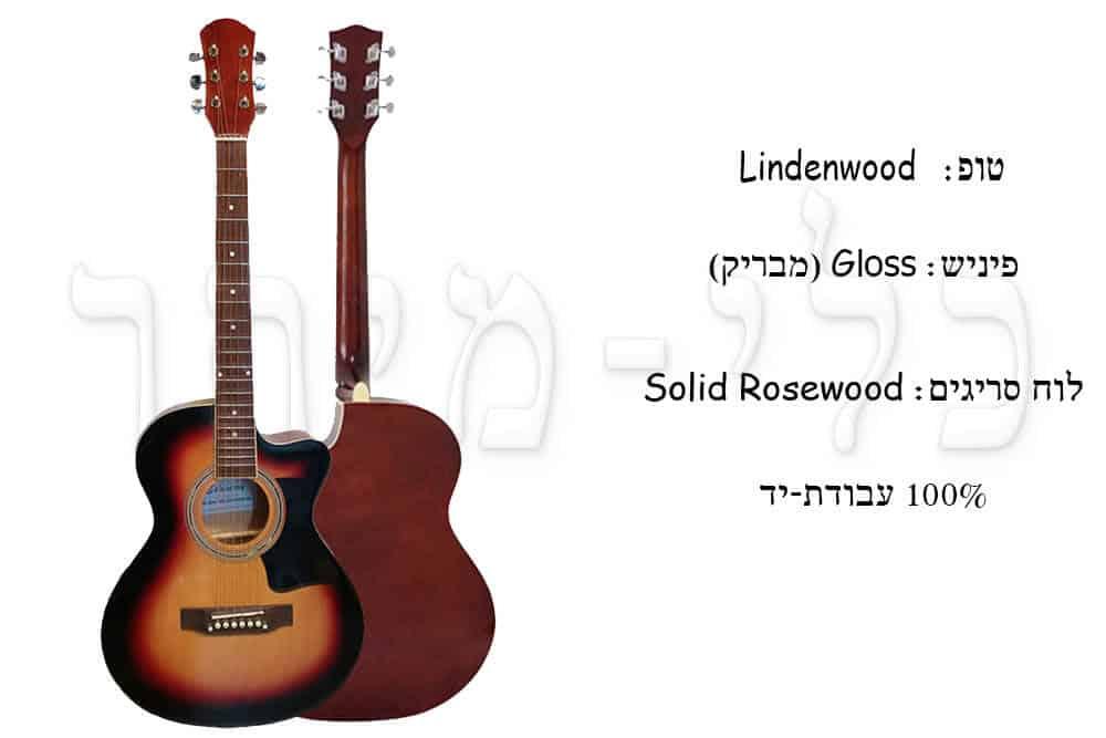 """גיטרה אקוסטית- """"Virginia 38 - מבנה חלקי הגיטרה"""