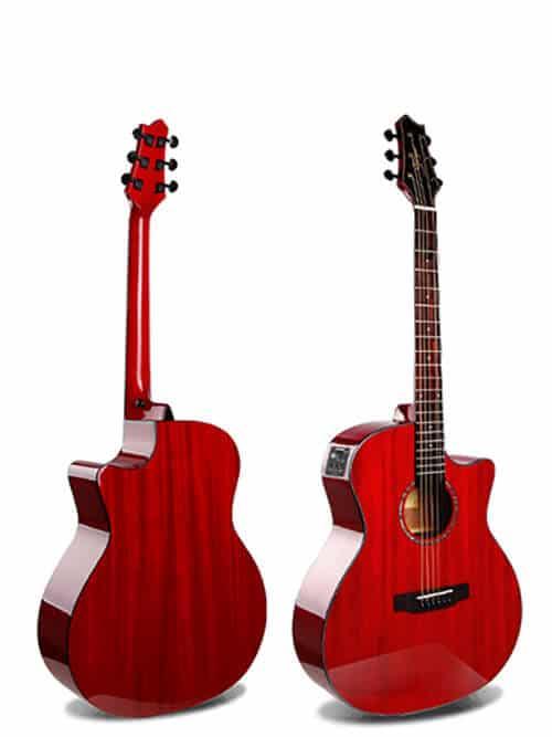 גיטרה אקוסטית סוליד טופ מוגברת Smiger- M-D10S-RD