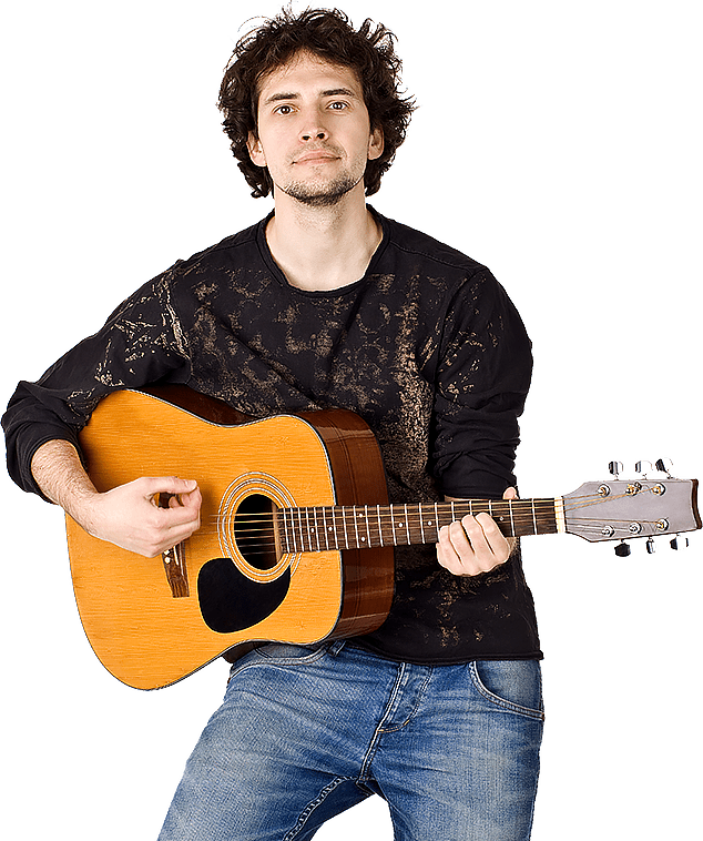 נגן גיטרה מנגן על גיטרה אקוסטית